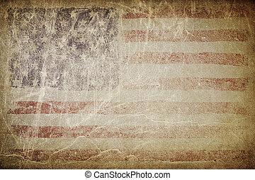 完全, placing., グランジ, テキスト, アメリカ人, バックグラウンド。, 旗