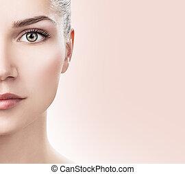 完全, skin., 女性, 若い, 顔