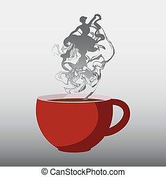 完全, steam., コーヒーカップ, イラスト, ベクトル, 赤