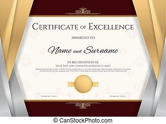 完成, 金, 証明書, フレーム, 卒業証書, 卒業, 銀, 優雅である, デザイン, 贅沢, テンプレート,...