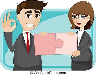 完成, businesspeople, 難題, 卡通
