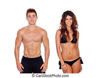 完美, 夫婦, 年輕, 他們, 顯示, 身体
