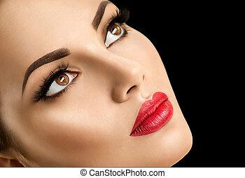 完美, 妇女, 美丽, 脸, 方式, 构成, 模型