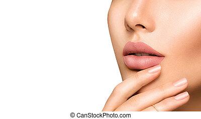 完美, 方式, 自然, lipstick, 妇女` s, 嘴唇, matte, 原色哔叽, 构成, 肉感