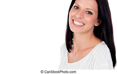 完美, 黑發淺黑膚色女子, 她, 放松, 公園, 婦女, 微笑, 顯示