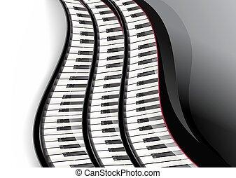 宏大的鋼琴, 鑰匙, 波狀, 在上方, 白色 背景