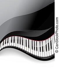 宏大的鋼琴, 鑰匙, 波狀, 背景。, 矢量, 插圖