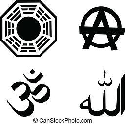 宗教, シンボル, ベクトル, セット