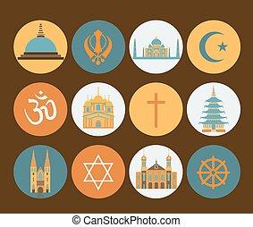 宗教, セット, アイコン