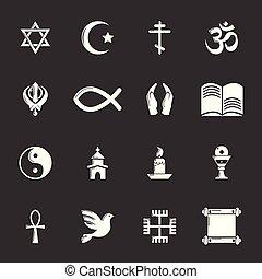 宗教, ベクトル, セット, 灰色, アイコン