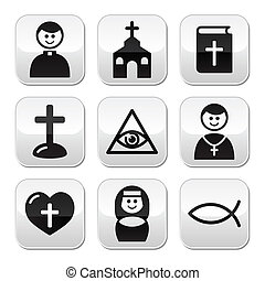 宗教, ボタン, セット, カトリック教, 教会