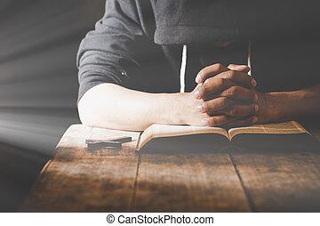 宗教, 人, 祈ること, 神, 朝, 若い