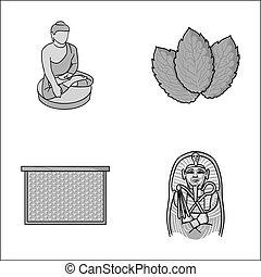 宗教, beekeeping, 以及, 其他, 單色, 圖象, 在, 卡通, style.cooking, 歷史, 圖象, 在, 集合, collection.