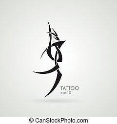 定型, イメージ, tattoo., dragon., vector.