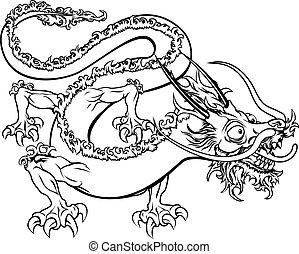定型, イラスト, ドラゴン