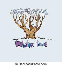 定型, ベクトル, 木の 冬