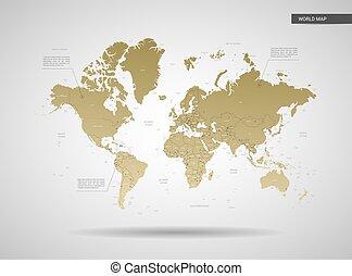 定型, 世界, ベクトル, illustration., 地図