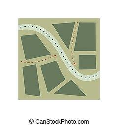定型, 地図, イラスト, 平ら