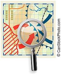 定型, 地図, hostilities, 背景, magnifier