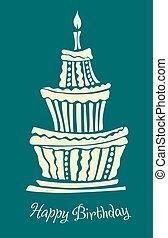 定型, 大きい, バースデーケーキ