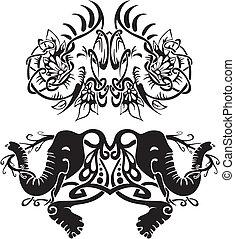 定型, 対称的, ビネット, 象