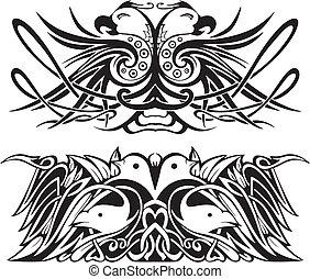 定型, 対称的, ビネット, 鳥
