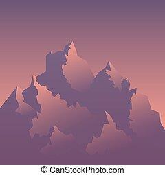 定型, 山, イメージ, 日の出