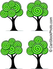 定型, 抽象的, セット, ベクトル, 木