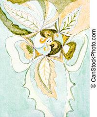 定型, 抽象的, 花, オブジェクト
