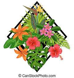 定型, 旗, 葉, booklets, トロピカル, flowers., 印刷, 織物, 背景, 植物,...