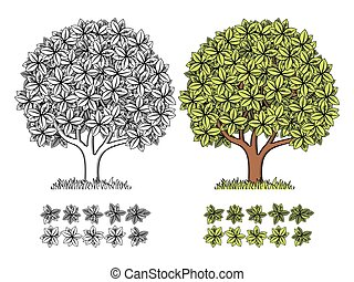 定型, 木, ベクトル, engraving.