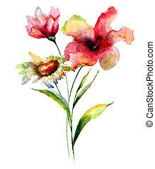定型, 水彩画, 花, イラスト