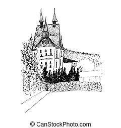 定型, 現代, sketched, mansion., 建物。