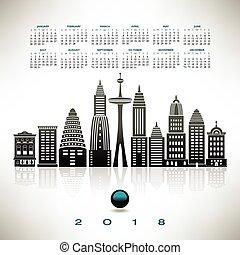 定型, 都市の景観, カレンダー, 2018
