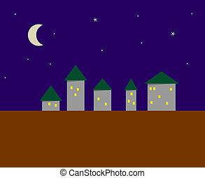 定型, 都市, イメージ, 夜