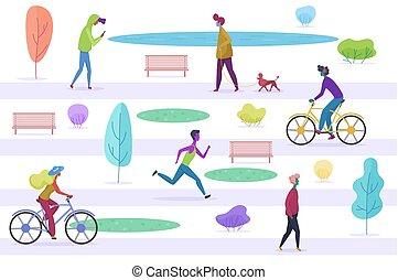 定型, 都市, 歩くこと, 楽しむ, misic, 人々, 聞くこと, texting, サイクリング, 平ら, 時間, park., ベクトル, マレ, 女性, 最新流行である, illustration., 動くこと, 漫画, ペット