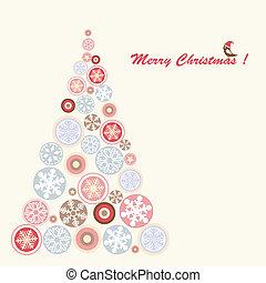 定型, snowflake., 木, レトロ, クリスマス