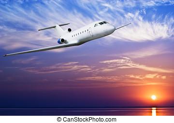 定期旅客機, 飛行, 中に, 空