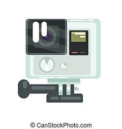 定義, カラフルである, 写真, プロ, イラスト, 高く, action., ベクトル, ビデオカメラ, 漫画
