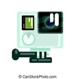 定義, カラフルである, 写真, プロ, イラスト, 高く, action., ベクトル, ビデオ, 行きなさい, カメラ, 漫画