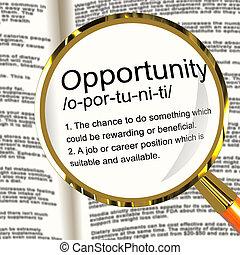 定義, キャリア, 可能性, チャンス, ポジション, magnifier, 機会, ∥あるいは∥, ショー