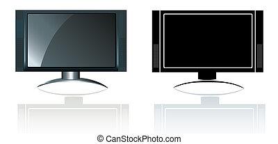 定義, スタイル, flatscreen, 現代, テレビ, 高く, widescreen
