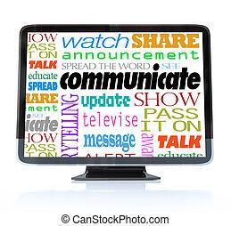 定義, テレビ, コミュニケートしなさい, 高く, hdtv, 言葉