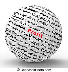定義, ビジネス, incomes, 利益, 球, 所得, ショー