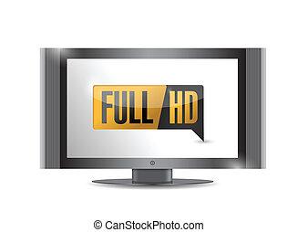 定義, フルである, tv, button., 高く, hd.