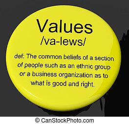 定義, ボタン, 原則, 価値, 美徳, 提示, 徳行
