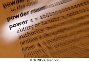定義,  -, 力量, 字典