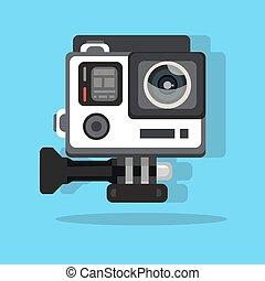 定義, 平ら, 写真, プロ, イラスト, 高く, 行きなさい, ベクトル, ビデオ, 行動, カメラ