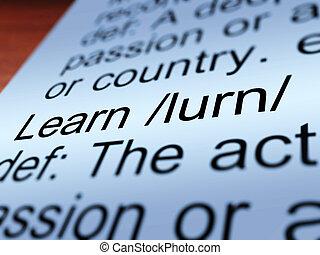 定義, 提示, クローズアップ, 勉強しなさい, 学びなさい