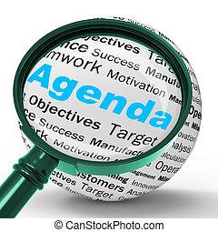 定義, 立案者, 手段, スケジュール, 議題, magnifier, メモ, ∥あるいは∥
